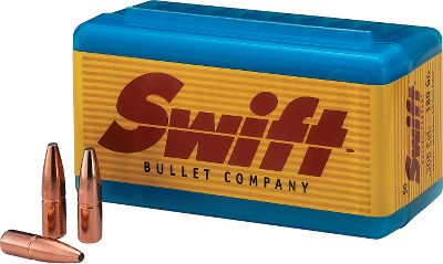 Swift Bullets have a boattail spitzer design that slices through the wind with a high level of accuracy, yet dependably stops game in its tracks. Cross-member jacket combines with a bonded front core for controlled expansion, penetration and weight retention on the largest game. .375 caliber (.375 diameter) bullets. 50 per box. - $62.99
