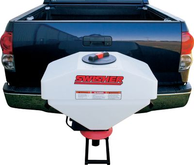 Hunting Spread seeds, fertilizer, salt and sand or feed consistently with a spreader that fits into your 2 x 2 receiver hitch. Its opaque 25-gallon heavy-duty plastic hopper holds up to 300 lbs. and has a spread width you can adjust from 4 ft. to 16 ft. The 8 easy-fill, spin-on cap is outfitted with a breather to ensure easy flow. The heavy-duty, permanent-magnet DC motor comes complete with wiring to connect to your truck's power. - $324.99