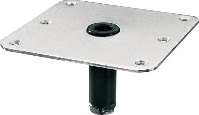 Ski High-strength 7 x 7 base plate has counter sunk, mounting holes to accept 5/16 -diameter fasteners. Accepts all 3/4 pin post, seat mounts and ski pylons.Available: Stainless Steel, Aluminum. Color: Stainless Steel. - $34.99