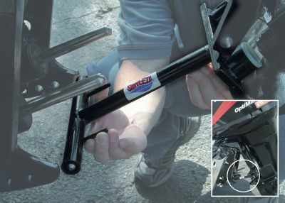 Motorsports Keep your motor secured while on the way to the lake without damaging your transom or scuffing up your lower unit. The small, compact LockN Stow takes the pressure off your hydraulics, so your seals remain intact. The entire assembly packs away easily within a storage compartment of your boat so its never left behind on the ramp or in the garage. Powder-coated steel construction with stainless steel locking pins. Fits Mercury engines only. Available: 200-225 Optimax, 225-250 EFI 75-200 Carb and EFIs, 135-175 Optimax Color: Stainless Steel. Type: Lock'N Stow. - $89.99