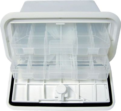 Motorsports Conveniently store tackle out of the way with this system. The Tackle Tray System is a 10-3/8 x 15 nonlocking hatch with a liner that holds three Plano 3600 utility boxes.Colors: White, Gray. Type: Storage Hatch System. White. - $89.88