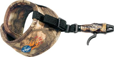 Hunting The web-strap connection simplifies adjustment, reduces torque and makes it easy to tuck the release out of the way when not in use. The caliper head swivels 360, or it can be locked in position with a set screw. The jaws close automatically when you release the trigger for faster loading during the hunt. It also has a trigger sensitivity adjustment. Available: Velcro strap, Buckle strap. Type: Wrist Strap. Style Buckle. - $59.88