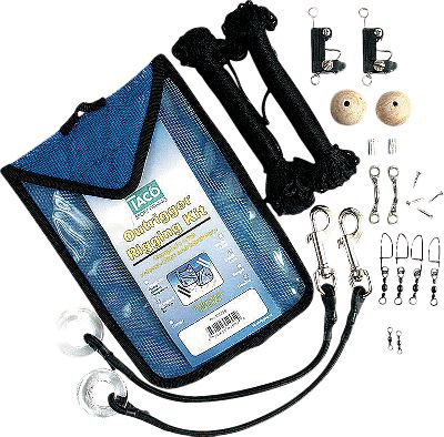 Fishing All the components you need to rig your outrigger lines. Kit includes glass eye, bungee cords, release clips, storage bags and a stainless steel roller. For outriggers up to 22 ft. - $46.88