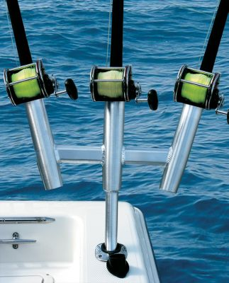 Fishing A gunnel-mounted, kite fishing three-rod holder with a 15 bent shaft that fits all standard gunnel-mount rod holders. - $189.99