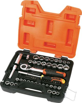 Motorsports This heavy duty socket set includes the most popular 1/4 and 3/8 drive SAE and metric sockets made of chrome vanadium, along with a heavy duty 3/8 ratchet, bit and socket driver, the most popular bits, a 3/8-1/4 socket adaptor, a 3 extention 3/8 drive and a 5/8 spark-plug socket. Impact-resistant case with metal latches and a lifetime warranty. Perfect for the shop, home, truck or cabin. - $14.88