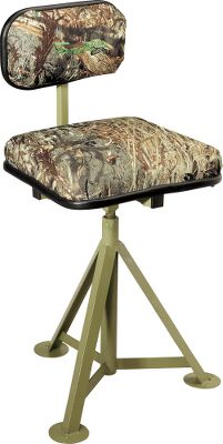 "Hunting The perfect seat for a pit or boat blind. Swivels 360 for views in all directions. Padded seat with detachable, adjustable backrest. Seat height adjusts from 20"" to 27"". Pre-drilled base holes for secure mounting. Weight: 12 lbs.Camo pattern: Mossy Oak Duck Blind . - $99.99"