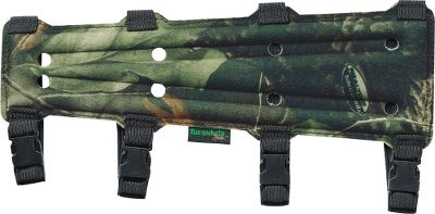 Hunting Keep your clothing out of the way of your release with this form-fitting, 11-3/4 flex-foam armguard. Four adjustable quick-release buckles make for easy on and off and a perfect fit. And every armguard has a silent-fleeced front. Color: Camo. Type: Armguards. - $16.99