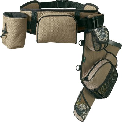 Hunting Comfort and organization for your shooting sessions. Deluxe bow hook keeps your hands free between shots. The quiver has a new one-piece divider cup and a long, zippered exterior pocket for accessories. Padded adjustable waistbelt is lined with bonded mesh to keep you dry on the range. You'll also find two more storage pockets a full-sized fanny pack and a small zippered pouch above the quiver. - $59.88