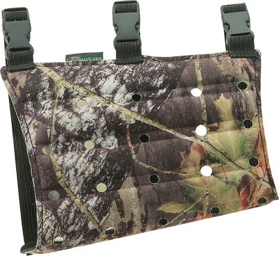 Hunting Keep your jacket from interfering with your shot with this armguard. It has a no-pinch concave design at both ends to not only keep your garment tucked in no matter how bulky it is, but wear comfortably as well. Extra holes for increased airflow. Color: Camo. Type: Armguards. - $18.99