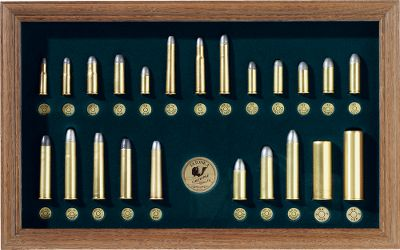 Any fan of the Wild West will be proud to the own this collection of 23 (non-firing) pistol, rifle and shotgun cartridges used to tame the West from 1874-1894. More than half are rare, obsolete cartridges. Cartridges are securely fastened to the board and are surrounded by a richly colored felt background housed in a beautiful wood frame with glass front. Dimensions: 10-1/2H x 17W. Gender: Male. Age Group: Kids. Type: Cartridge Display Boards. - $179.99