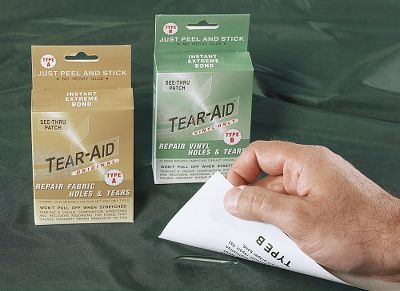 Camp and Hike Repair tears in your pack, tent or waders with an easy-to-use peel-and-stick patch. The patch forms a watertight seal in seconds and resists extreme use for years. Each kit includes: 3 x 12 Tear-Aid Patch (cuts with scissors to any size) 7/8 x 7/8 patch 1-3/8 x 1-3/8 patch 36 reinforcement filament for repairing tears at edges Alcohol prep pads The Type A kit is used to repair non-vinyl materials: CanvasMost fabricsRubberMost plasticsNeopreneFiberglassNylonStainless steelAluminumPolyethyleneNon-oiled leatherSunbrellaPolypropylenePolyurethaneThe Type B kit is used to repair Vinyl and Vinyl-coated materials. Available: Type A, Type B. - $7.88