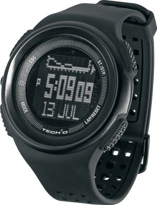 This looks like a watch, and works like the ultimate navigational survival tool. The Traileader Jet watch packs everything you need to journey the wildest of the wild into a compact, rugged, stainless steel case. It has a stealthy black exterior and no-glare glass, reverse display with a rugged, ventilated polymer band. A precision altimeter and digital compass keep you on track for wayfinding, while the on-board accelerometer measures your speed and distance. A barometer and thermometer monitor the weather conditions for you so you can focus on your route and pace then they display a forecast graphic of the predicted coming weather (sunny, partly cloudy, cloudy and raining). Dual time function, countdown timer, two alarms and hourly chime. 1/100-second chronograph with 50-lap recall function. EL backlight, user profile settings and adjustable LCD levels. Water-resistant to 10 meters.Case diameter: 50.8mm.Color: Black. - $119.99