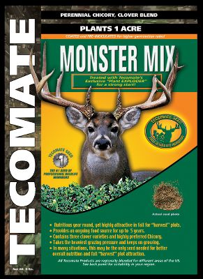 Hunting Monster Mix grows and attracts monster bucks. It contains premium white and red clovers and hardy chicory, making it a good year-round food plot mix for deer and turkey. Planting dates recommended for the south are September-November, spring or fall in mid-America and April-July in the north. Planting depth of 1/8 -1/4 . Mix contains coated and pre-innoculated seeds for better germination, survival, growth and production. Produces for three to five years. Sizes: 4-12 lbs. plants 12 acre; 8 lbs. plants 1 acre. Color: White. Type: Food Plots. - $29.99