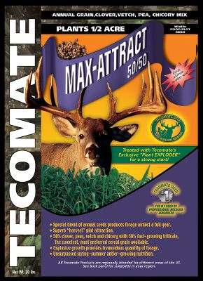 Hunting This 50-50 mix is the best choice for maximum attraction during fall months. It contains 50 peas, clovers, vetch and chicory and 50 premium annual grains for maximum nutrition and attraction throughout the growing cycles of deer. Should be planted in early fall no more that 1/4 deep. Will hold deer close during the season, in addition to supplying them with the energy they need when activity gets high. This mix can also be used in the spring for growing and maturing your herd. Turkeys are also fond of this crop. 20 lbs. plants 1/2 acre, 40 lbs. plants 1 acre. Sizes: 20 lbs., 40 lbs. - $29.99