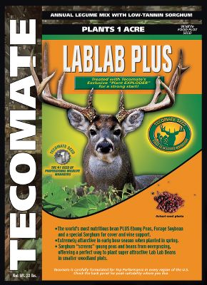Hunting Lablab Plus is an annual warm-season pea mix and one of the best choices for antler-growing nutrition on small plots. Nothing beats large-seeded peas for growing high-protein forage quickly. It contains lablab, nutritious and productive peas and grain sorghum. Lablab is ideal for meeting the deers nutritional needs during the critical summer through early fall antler-growing/fawning time. Its the worlds first warm-season pea mix, and it yields large amounts of high-protein forage in a short period of time. This is a fall or spring plant that should be planted 1-3 deep. 20 lbs. plants one acre. Size: 20-lb. bag. - $59.99