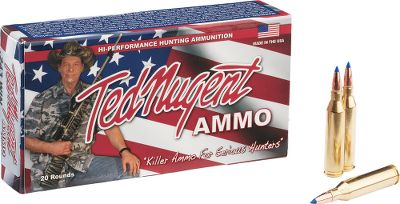 Hunting Famed rock-and-roller, extreme hunter, author and outspoken patriot Ted Nugent has channeled his seemingly endless supply of enthusiasm into the development of a new line of rifle ammunition. Each round is made to Uncle Teds exact standards to ensure absolute reliability you can trust to take down game or take out varmints with authority. These rounds are loaded with lead-free Barnes TSX bullets for optimal long-range performance and on-game terminal effect, all in an environmentally friendly package. Per 20. Type: Centerfire Rifle Ammunition. - $34.88