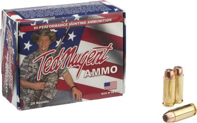 Entertainment Famed rock-and-roller, extreme hunter, author and outspoken patriot Ted Nugent has channeled his seemingly endless supply of enthusiasm into the development of a line of handgun ammunition. Each round is made to Teds exacting standards to ensure absolute reliability you can trust to protect your home or life and take down game with authority. These rounds have a jacketed-hollow-point bullet optimized for penetration and expansion. Per 20. - $23.99