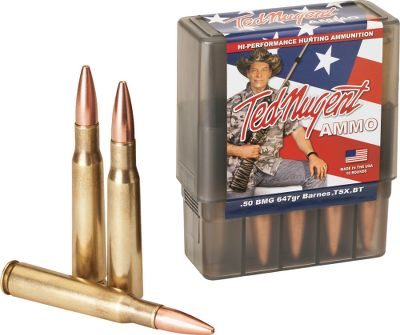 Hunting Famed rock-and-roller, extreme hunter, author and outspoken patriot Ted Nugent has channeled his seemingly endless supply of enthusiasm into the development of a line of ammunition for .50 BMG rifles. Each round is made to Uncle Teds exacting standards to ensure absolute reliability. These cartridges are loaded with lead-free 647-grain Barnes TSX bullets for optimal long-range performance. Per 10. Bullet Weight: 647 Gr.. Type: Centerfire Rifle Ammunition. Caliber: .50 BMG. Bullet Type: TSX. Cal/Gaug 50bmg 647gr Tsx. - $74.88
