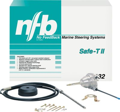 Fishing Replace your worn steering system with a system from Teleflex. Stainless steel cable ends fit most brands and sizes of motors. This kit comes complete with cable, helm, bezel and instructions, the No-Feedback system has a patented clutch that locks out steering loads from your engine, saving your arms for fishing. The NFB 4.2 Single cable is great for pontoon boats. The 4.2 turns in a compact rotary helm for easier steering than standard 3-turn rotary systems (like Safe-T , Safe T ll). Fits standard dash cutouts and most boats where rack and pinion won't fit.Lengths: 11, 12, 13, 14, 15 or 16 ft. - $163.88