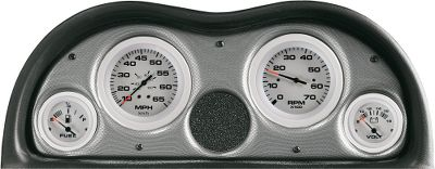 Motorsports Replace multiple gauges and modernize your rig at the same time. For outboards and stern drive/inboard engines. Tachs and Speedometers fit standard 3-3/8 hole, gauges fit 2-1/8 hole. Four-Gauge Outboard Set: Tach (to 7,000 rpm) Speedometer (to 65 mph) Voltmeter (12-volt systems) Fuel (requires tank with 240-33 ohm sender) Six-Gauge Stern Drive/Inboard Set: Tach (to 7,000 rpm) Speedometer (to 65 mph) Voltmeter (12-volt systems) Oil pressure (up to 80 psi) Temperature (120-240 F) Fuel (requires tank with 240-33 ohm sender) Available: Four-Gauge Outboard Set, Six-Gauge Stern Drive/Inboard Set. Colors:Eclipse or Arctic. Color: Eclipse. Gender: Male. Age Group: Adult. Type: Instrument Sets. - $129.99
