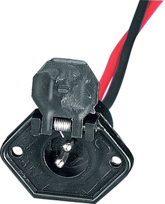 Fishing These trolling motor receptacles fit two or three-wire configurations. Watertight sealing cap protects the receptacle when not in use. Choose from a 12- or 24-volt system. Accepts up to 8-gauge wire. - $9.88