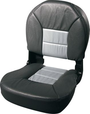 "Motorsports Make your day on the water more enjoyable and comfortable with this sharp-looking, top-notch boat seat. You'll appreciate the deluxe cushion filled with high-density marine foam, especially if you navigate rough waters. An automatic locking system and ""no pinch"" stainless steel hinge ensure that the seat back remains secure and upright when in use. Surface construction is 30-oz. marine-grade, UV-stable vinyl that's durable, spill-resistant and also resists fading in sunlight. This seat mounts to any standard marine swivel, slide or seat spider. Dimensions: 22-1 2""H x 19""W x 19-1 2""D. Colors:Blue/GrayCharcoal/GrayGreen/Tan Mossy Oak Break-Up Mossy Oak Shadow Grass White/Gray White/Blue - $129.99"