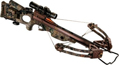 "Hunting A perfectly balanced, premium precisioned crossbow with pinpoint accuracy and deadly speed. The 11"" 185-lb. Extreme Limb Technology (XLT ) limbs are fitted with maximum-rotation cams and D-75 string and cables. 12"" power stroke helps it to attain velocities of 320 fps, generating 95.5 ft.-lbs. of kinetic energy. Ultralightweight, molded Verton stock and barrel assembly. GripSafety secondary safety protects fingers on the fore grip. Removable foot stirrup. Bronze limb pockets, trigger box and MR cams. Double-dipped in Realtree APG camo.Power stroke: 12"".Draw weight: 185 lbs.Length: 37.35"".Width: 17.5"".Weight without accessories: 7 lbs. 6 oz.Camo pattern: Realtree APG .TenPoint Stealth XLT includes: crossbow, Rangemaster Pro Scope with 7 8"" rings, ACUdraw cocking mechanism, six aluminum 2219 XX75 20"" SuperBrite bolts with practice points, four-bolt quiver, 7 8"" fixed dovetail mount, GripGuard , DVD and TenPoint hat. - $999.88"