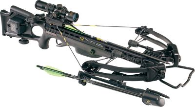 Hunting TenPoint has a complete line of crossbows. Pre-sighted at the factory and ready to go right out of the box, this package comes with everything you need to harvest game. The 11 IsoTaper Limbs bend to a mere 13.5 axle-to-axle when cocked, and coupled with a 185-lb. draw weight create a compact, powerful and maneuverable package, shooting arrows up to 352 fps. MRX cams and D-75 string and cables are silenced by the String Dampening System, the industrys only cable-slot-mounted string stop. Aircraft-grade aluminum, fluted barrel improves strength and balance. Equipped with ACUdraw automated drawing system and RangeMaster Pro variable-speed, arrow-drop-compensating scope. Made in USA.Power stroke: 12.625.Draw weight: 185 lbs.Length: 38.125.Width: 17.5 relaxed, 13.5 cocked.Weight without accessories: 7 lbs. 4 oz.Tatical XLT AcuDraw Package Includes: arrows, quiver, side-mount quiver bracket, GripGuard. Black stock. Type: Crossbows. IBO Speed (fps): 351 and above. Tactical Xlt Wpkg. - $1,099.88