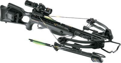 Hunting TenPoint has a complete line of crossbows. Available exclusively from Cabelas, this crossbow uses revolutionary technology to achieve a faster, quieter, more accurate shot. The XLT bow assembly packs a powerful 185-lb. draw weight into a compact, 13.5 axle-to-axle width when cocked. String noise and vibration are virtually eliminated by the innovative String Dampening System, a string stop mounted on the cable slot. A crisp 3.5-lb. trigger pull, fluted aluminum barrel and RangeMaster Pro variable-speed and -power scope delivers consistent, accurate shots. The entire crossbow weighs in at a mere 7 lbs. 4 oz., and shoots the included Pro Lite carbon bolts at speeds up to 352 fps. Features 11 IsoTaper Limbs, MRX cams, D-75 string and cables, BoxJax dampeners, DFI dry-fire inhibitor, ACUdraw 50 cocking mechanism, GripSafety and GripGuard. Made in USA. Speed: 352 fps. Power stroke: 12.625. Draw weight: 185 lbs. Length: 38.125. Width: 17.5. Weight without accessories: 7 lbs. 4 oz. TenPoint Tactical XLT package includes: crossbow, RangeMaster Pro scope, six bolts, side-mount quiver, BowJax dampeners, ACUdraw 50 cocking mechanism, aluminum foot stirrup and GripGuard. Black stock. Color: Black. Type: Crossbows. - $1,299.99
