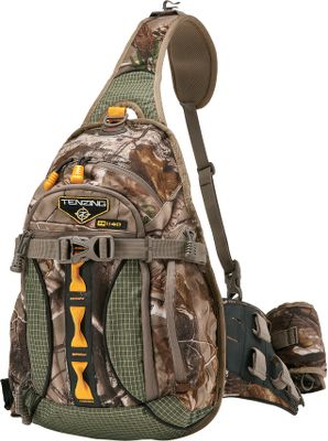 Hunting The TZ 1140 is a bowhunters dream. This packs single-sling design fits comfortably over either the left or right shoulder, giving you unrestricted draw and access to the quiver. A side-mounted clip on the left side keeps your bow close by, and a quiver mount on the right side makes your arrows easy to reach. A front-mounted rangefinder case makes dialing in distance that much faster and easier. 12 compartments and pockets, including five specialized zip pockets marked with orange zippers and pulls. Padded hip support and a breathable, mesh back pad for comfortable carry. The belt is adjustable to ensure a customized fit for optimal load-bearing distribution. A hydration compartment and port can hold a 2-liter water reservoir (not included). Made of durable, three-layer, 210-denier tricot and Dyneema fabric in key locations for the ultimate in wear resistance and strength. Waterproof layer has a soft, brown PVC backing and a durable water-repellent finish. Mesh pockets in some areas. Imported.Dimensions: 17H x 12W x 5D. Weight: 2 lbs. 3 oz. Camo pattern: Realtree AP. - $119.99