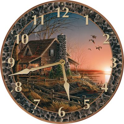 The timeless and inspiring appeal of Terry Redlin artwork captures moments of wilderness serenity in these beautiful round wall clocks. Equipped with brass hands and easy-to-see numerals, the quartz movement of these fine clocks is powered by a single AA battery (not included). They arrive in a gift box. 11 idia. Available: The Birch Line, Evening with Friends, Best Friends, Comforts of Home, All Hands on Deck, Evening Solitude. - $34.99