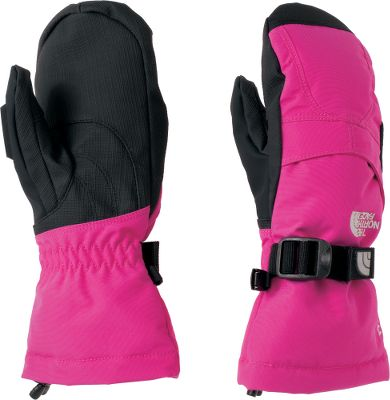 All-purpose mittens constructed with technical features to provide dry, warm protection in cold conditions. The North Face Girls Montana Mitts have a youth-specific 5-Dimensional Fit and Radiametric Articulation for excellent freedom of movement. Oxford-nylon shells lined with 100% polyester. Synthetic-leather palms. 100-gram Heatseeker insulation on backs and palms retains heat while the waterproof and breathable properties allow moisture vapor to escape. Fourchette-box finger construction. Storm Door cuff gaskets keep snow from sliding in. Zippered pockets on the back of the hands. Imported. Sizes: S-L. Colors: Azalea Pink, TNF Black/TNF Black,Passion Pink, Razzle Pink, Pixie Purple. Size: M. Color: Azalea Pink. Gender: Female. Age Group: Kids. Material: Polyester. - $50.00