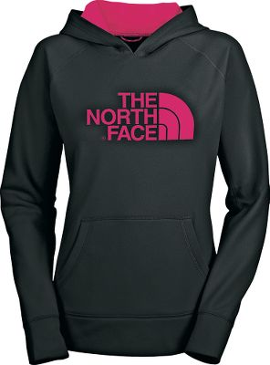 The North Faces Fave-Our-Ite Hoodie is a standout choice when you need an extra layer for cool nights or quick errands. Kangaroo pocket with interior media pocket. UPFrating of 50. Contrast hood liner. Locker loop. 100% polyester jersey-faced fleece with anti-pilling body. Imported.Center back length: 26.Sizes: S-2XL.Colors: TNF Black/Camo, Rocket Red Heather, Blarney Green, Rose Red Heather, Intense Blue Heather, Heather Grey/White, Marker Blue, Jaiden Green, Azalea Pink, Asphalt Grey Heather, Ink Blue, Sugary Pink. Type: Hoodies. Size: Large. Color: Rose Red Heather. Size Large. Color Rose Red Heather. - $55.00