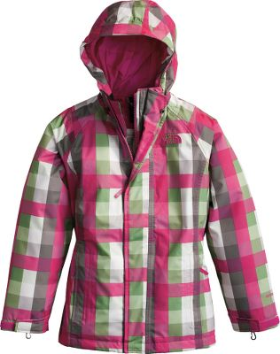 Know that she is prepared for any weather with The North Face Girls Vestamatic Triclimate Jacket. Waterproof, breathable HyVent shell comes in stylish plaid print, keeping her dry and fashionable. On milder, wet days, the 80-gram HeatSeeker insulation in the shell will allow her to leave the vest at home. Seam-sealed construction, a fixed hood and hem drawcord on the shell keeps wind and moisture away. Vest is insulated with 550-fill-power down and can be worn outside or inside the shell, or used as a stand-alone layer for mild weather. Shell is 100% polyester with 100% nylon taffeta lining. Vest is 100%-recycled polyester taffeta with down insulation. Lifetime warranty from TNF. Imported.Sizes: XS-XL.Colors: Turquoise Blue, Passion Pink, Razzle Pink. Type: Jackets. Size: X-Large. Color: Razzle Pink. Size Xl. Color Razzle Pink. - $128.88