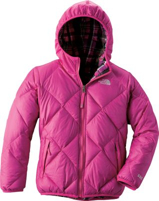 Keep her warm, comfortable and looking her best, even in winters worst in The North Face Girls Moondoggy Jacket. The waterproof, breathable, nylon HyVent shell protects against the elements. A layer of 550-fill-down insulation provides toasty, heat-trapping warmth. Zip-in and snap-in compatible. Welt handwarmer pockets. Elastic cuffs, hood and hem. Jacket reverses to plaid body. Imported.Sizes: XS-XL.Colors: Passion Pink, Pixie Purple, Razzle Pink, Turquoise Blue, TNF Black. Type: Jackets. Size: Large. Color: Passion Pink. Size Large. Color Passion Pink. - $114.88