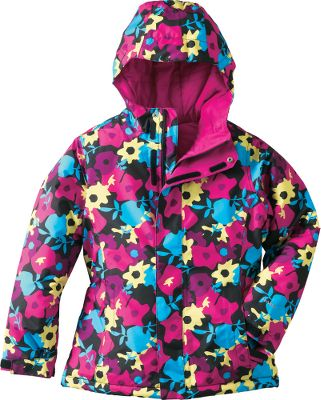 Lively floral patterns combine with the latest cold-weather-fighting technology to deliver a jacket thats both eye-catching and super-warm. Rain and snow slide off the HyVent polyester plain-weave printed shell and its fully seam-sealed for extra protection. Because the jacket is breathable, your active little gal wont overheat. 100% nylon taffeta lining slides effortlessly over layers. With 250-gram Heatseeker Aero insulation in the body and 160-gram in the sleeves, this is one of the warmest jackets in TNFs winter-fighting arsenal. An attached hood affords added protection from wind and precipitation, and zippered handwarmer pockets heat up chilly fingers. A drawcord hem and adjustable cuff tabs keep weather out. Other handy features include an internal media pocket, key clip, glove clip, goggle cloth and ID label. Embroidered logo at left chest. Imported.Center back length for size Medium: 23.5.Youth sizes: XS-XL.Colors: Burrow Brown Floral, Razzle Pink Floral. Type: Jackets. Size: X-Large. Color: Burrow Brown Floral. Size Xl. Color Burrow Brown Floral. - $119.88