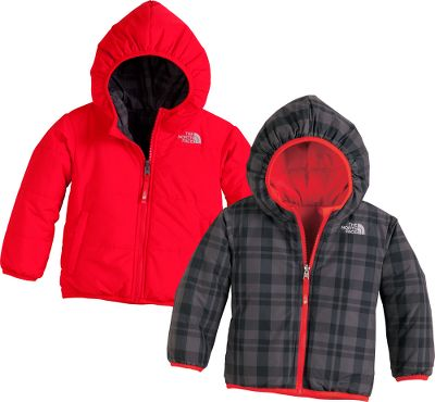 This reversible, insulated The North Face Jacket keeps your little guy warm whether hes sledding or building a snowman. The entire body is laterally quilted with 160-gram Heatseeker Aero insulation that provides warmth with minimal bulk. Elastic binding on the cuffs, hem and hood keep body heat closer, longer for more playtime outside. One side features a yarn-dyed plaid while the other has a solid color with zippered handwarmer pockets. Solid body is 100% polyester; plaid body is 57/43 nylon/polyester. Imported.Sizes: 2T-4T.Colors: Flashlight Green, Graphite Grey. - $55.88