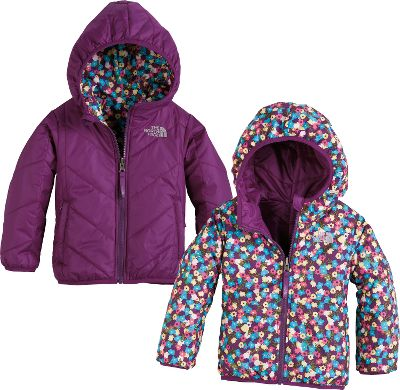 This reversible, insulated The North Face Toddler Girls Perrito Jacket keeps your little gal warm whether shes sledding or building a snowman. The entire body is laterally quilted with 160-gram Heatseeker Aero insulation that provides warmth with minimal bulk. Elastic binding on the cuffs, hem and hood keeps body heat closer, longer for more playtime outside. One side features a playful floral pattern, while the other has a solid color with zippered handwarmer pockets. Solid body is 100% polyester; plaid body is 57/43 nylon/polyester. Imported.Sizes: 2T-4T.Colors: Pixie Purple, Cha Cha Pink, Passion Pink. - $80.00
