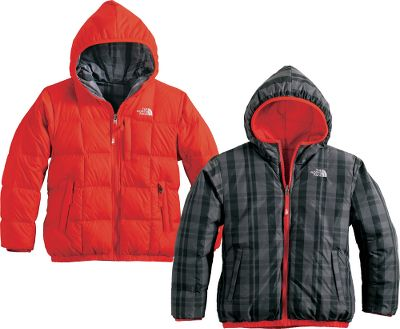 This reversible, insulated The North Face Boys Moondoggy Jacket keeps your little guy warm whether hes sledding or building a snowman. The entire body is quilted with 550-fill-power down insulation for optimal warmth. One side features a yarn-dyed plaid with a solid color on the reverse side. Welted zipper handwarmer pockets on the solid-colored side and simple welted handwarmer pockets on the patterned side keep hands warm for more playtime outside. Zip-in and snap-in compatible with other The North Face garments. Solid body is 100% nylon; plaid body is 57/43 nylon/polyester. Imported.Sizes: XS-XL.Colors: Graphite Grey, Nautical Blue, TNF Black, Conifer Green, Jake Blue, Fiery Red. Type: Jackets. Size: Medium. Color: Graphite Grey. Size Medium. Color Graphite Grey. - $114.88