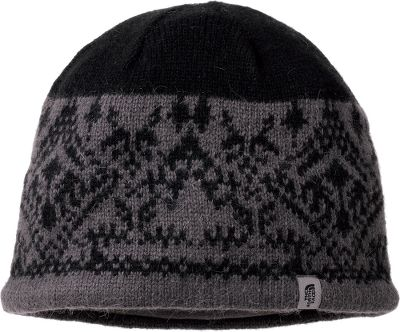 A Jacquard weave adds style to this performance beanie. Made of a comfortable, high-performance blend of materials including super-soft angora yarns. A 100% polyester ear band provides maximum insulation and ensures a snug fit. 40% viscose, 40% nylon, 10% angora yarns and 10% cotton. One size fits most. Imported.Color: TNF Black. - $14.99