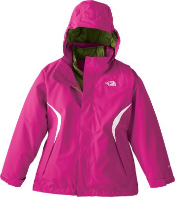Snowboard For treks from store to store when winter chill is in the air or tearing up the slopes on a snowboard or skis, this jacket will keep your girl warm and dry. The HyVent 2L polyester shell is waterproof with fully taped seams, yet breathable to keep your child from overheating. The 100% nylon taffeta shell makes the jacket easy to slide on and off. 160-gram Heatseeker Aero insulation retains sufficient body heat to ensure warmth on cold days. A removable hood offers added protection in foul weather and fashionable versatility when the sun is shining. Adjustable drawcord system at the hem and adjustable Velcro cuff tabs seal out winters worst, as does the jackets powder skirt. Convenience features include a goggle cloth, internal media pocket, key clip, glove clip and zippered handwarmer pockets. Zip-in and snap-in compatible with other TNF system garments. Embroidered logo on left chest. ID label. Imported. Center back length for size Medium: 23.5. Sizes: XS-XL.Colors: Premiere Purple, Razzle Pink/TNF Black, Razzle Pink, Turquoise Blue. - $99.88
