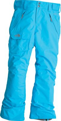 Warm and waterproof winter pants with a stylish cut. Their shell is polyester plain weave HyVent 2L thats fully seam-sealed and sheds snow and moisture. The lining is smooth nylon taffeta that slips over base-layer leggings or long underwear easily. 60-gram Heatseeker Aero insulation delivers ample warmth, and the pants are breathable to ensure dry comfort. Articulated knees and a half-elastic waistband with adjustable Velcro tabs ensure freedom of movement. Zippered fly with snap-front closure. Zippered handwarmer pockets and a leg cargo pocket with a Velcro flap offer storage for essentials. Leg gaiters with gripper elastic help keep snow out. Convenience features include a key clip, belt loops, front-leg boot clips and grow cuffs that extend the inseam as your girl grows. Reinforced kick patch at hems. Embroidered logo on cargo pocket. Inseam expands from 23 to 25. Imported.Sizes: XS-XL.Colors: TNF White, Turquoise Blue, Razzle Pink Floral, Premiere Purple. - $76.88