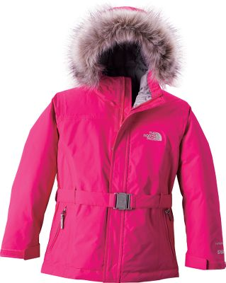 Ward off winter with this stylish and versatile jacket. Fully sealed seams and a HyVent 2L fabric treatment make it waterproof, yet breathable, 550-fill-power down insulation provides the ultimate in warmth and coziness. Removable faux-fur trim on the fixed hood. Inset belt gives the jacket a finished look. The brushed lining in the collar is soft against your childs face, and adjustable Velcro cuffs keep even more cold out. Zippered handwarmer pockets and internal media pocket. 100% nylon shell with 100% polyester lining. Imported.Center back length: 24. Sizes: XS-XL.Colors: Graphite Grey, Premiere Purple, Razzle Pink. - $138.88