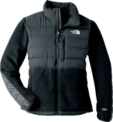 A spin on the classic The North Face fleece jacket fortified with thermal-mapped down insulation and a silky, durable taslan overlay. Insulation in the body, shoulders and elbows add that much more warmth and comfort for extended wear. This can also zip into other compatible The North Face garments. Chest pockets and secure zip hand pockets. Bottom hem cinch cord. Imported.Sizes: S-XL.Colors: TNF Black, TNF White/Metallic Silver, Premiere Purple. - $129.88