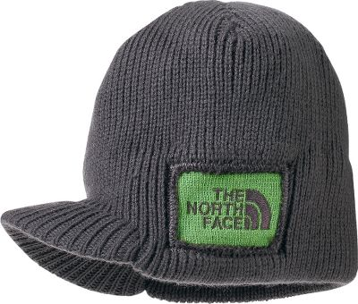 An all-popular silhouette meets edgy style in this The Norht Face Boys Sideways Beanie. Distressed logo patch. 100% acrylic. Imported. Sizes: S-M. Colors: Graphite Grey/Green, Jake Blue, Nautical Blue. Size: Small. Color: Graphite Grey/Green. Gender: Female. Age Group: Kids. Material: Acrylic. Type: Beanies. - $20.00