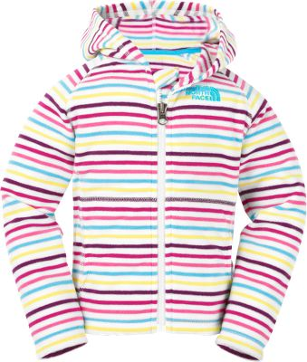 Cozy, durable, easy-care fleece hoodie with a full zipper in the front is ideal for chilly weather. The pill-resistant fleece is lightweight and warm. Kangaroo-style front handwarmer pockets are perfect for tucking little hands into. The North Face logo is embroidered on the left chest. 100% polyester. Imported. Sizes: 2T-4T. Color: TNF White Stripe. - $27.88