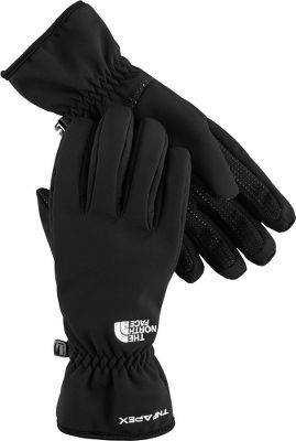 Crafted of TNFs warming, flexible and breathable Apex ClimateBlock soft shell, these durable winter gloves boast a durable water-repellent finish. For deep-winter warmth, these gloves feature 100-gram Heatseeker insulation at the backs hands, and theyre lined with tricot thats been brushed to the peak of softness. A women-specific fit, radiametric articulation and a silicone gripper at each palm preserves the hands natural dexterity, flexibility and grip. Imported.Sizes: S-L.Colors: TNF Black, High Rise Grey. - $44.99