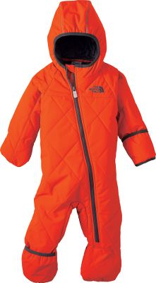 The combination of a durable water-repellent finish and 120-gram Heatseeker Aero insulation in the quilted body of The North Face Infants Toasty Toes Bunting wraps your little one in protection from the weather. Asymmetrical full-zip front allows easy entry and exit. Fold-over mitts and fold-over booties. Binding at cuffs and hood. Reflective piping. ID label. Imported.Sizes: 0-3 mo., 3-6 mo., 6-12 mo., 12-18 mo., 18-24 mo.Colors: Nautical Blue, Passion Pink, Cha Cha Pink, Fiery Red. Type: Buntings. Size: 3-6 Months. Color: Nautical Blue. Size 3-6 Month. Color Nautical Blue. - $84.88