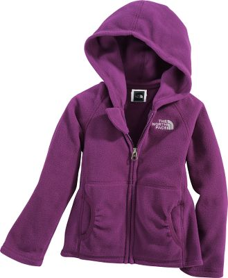 This cozy, durable, easy-care fleece hoodie with a full zipper is ideal for chilly weather and easy on/off. The pill-resistant fleece is lightweight and warm. Front handwarmer pockets are perfect for tucking little hands into. The North Face logo is embroidered on the left chest. 100% polyester. Imported.Sizes: 2T-4T.Colors: Premiere Purple, Cha Cha Pink. - $23.99
