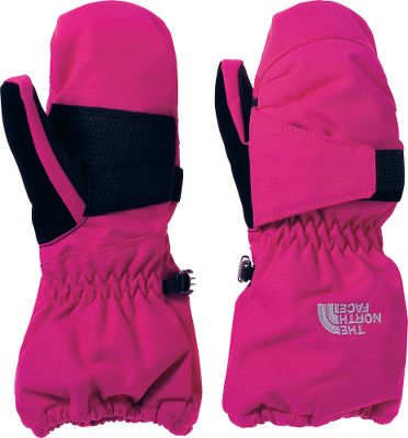 The North Face Toddlers Mitts provide technical, heat-trapping warmth for your little one. The waterproof, breathable HyVent 2L shells provide wet-weather comfort, while the 100-gram Heatseeker insulation in the palms and backs of the hands delivers exceptional warmth. Super-soft, brushed tricot linings. Polyurethane-grip palms. Imported.Sizes: 2T, 3T, 4T.Colors: TNF Black, Azalea Pink. Type: Mittens. Size: 2T. Color: Azalea Pink. Size 2t. Color Azalea Pink. - $30.00